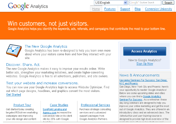 Google Analytics New Home Page