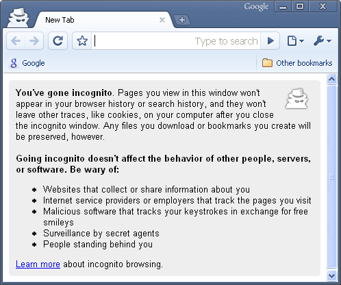 Private Browsing Incognito Window