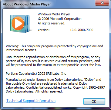 About Windows Media Player 12