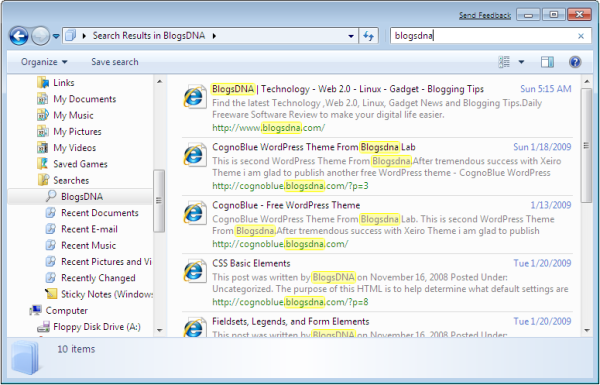 Blogsdna Windows 7 Search Connector in Action