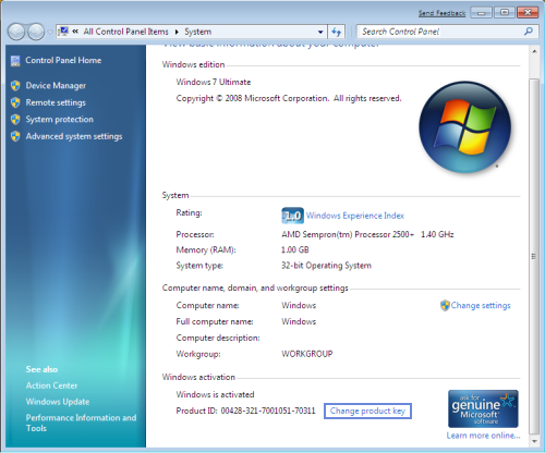 Change Windows 7 Product Key