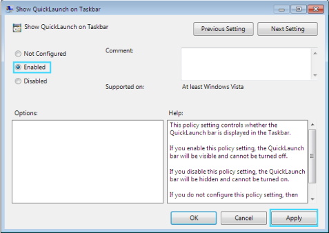Enable Quick Launch Toolbar