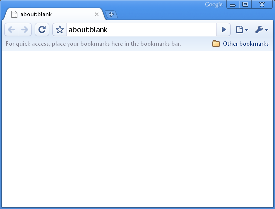 Google Chrome About Blank Page