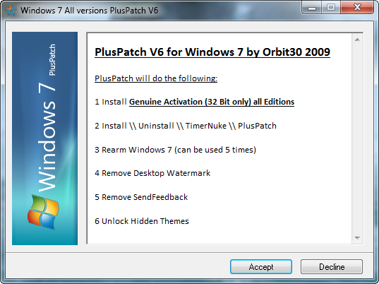 PlusPatch V6 for Windows 7 Beta 1