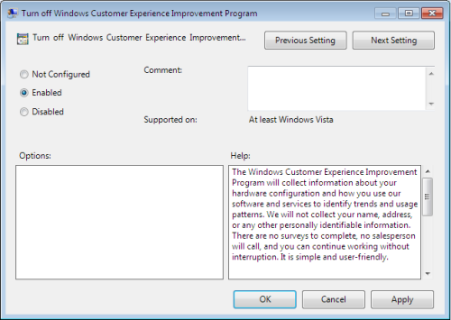 turn off windows customer experience improvement program      Windows Explorer  ?   ?  