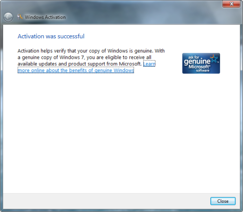 Windows 7 beta 1 Activation