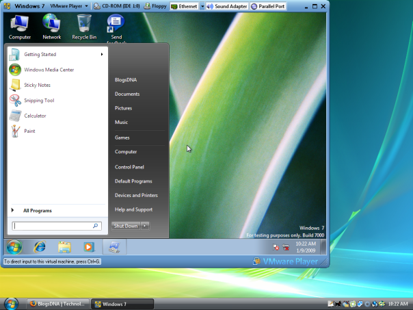 Windows 7 Beta 1 on Vmware Player