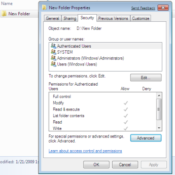 Windows 7 Files and Folder Security Tab