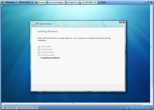 Windows 7 Installation Completed