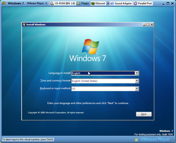Windows 7 Installation on Vmplayer