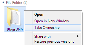 Windows 7 Take Ownership Option