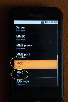 Enter MCC and MNC Code on G1 Phone