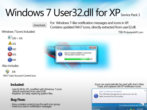 Windows 7 User32 dll for XP by TSR-Pr