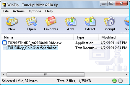 file downloaded in step 2 has German version of TuneUp Utilities 2008