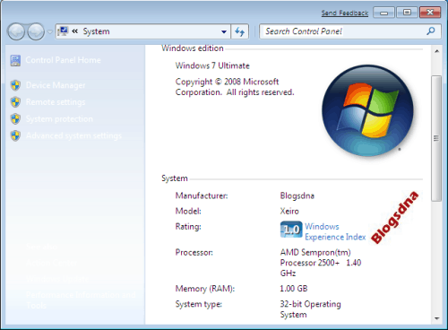 Changed Windows 7 OEM Information WinGuggle