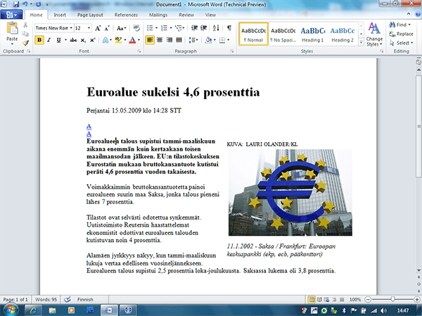 Microsoft Office 2010 Word Technical Preview 1