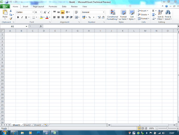 Microsoft Office 2010 Excel Technical Preview 1