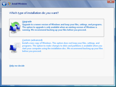 Select Custom Windows 7 RC Installation