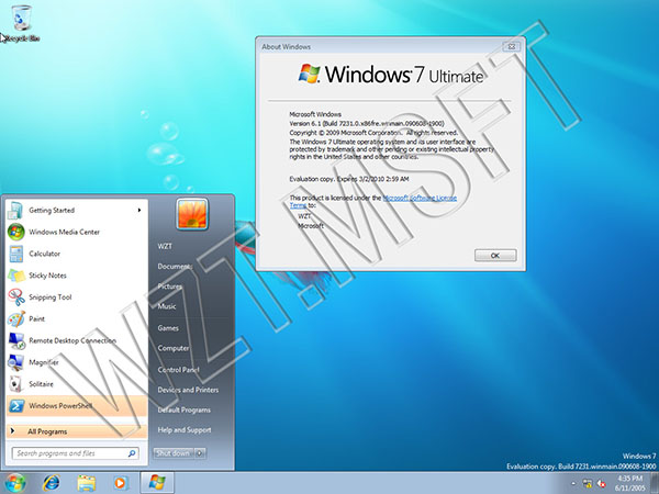 Windown 7 build 7231 x86 Desktop