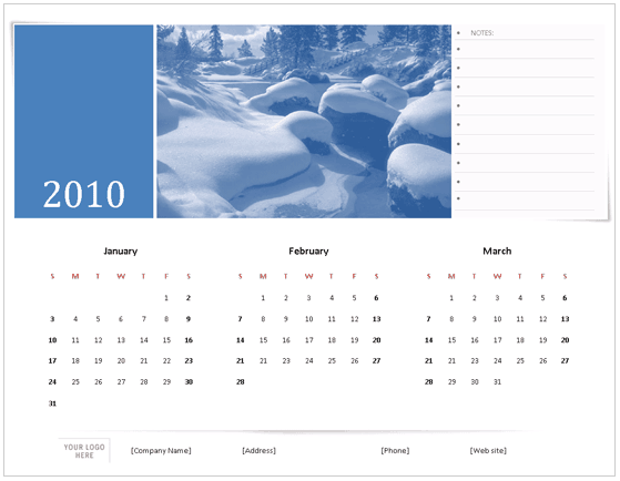 2010 Calendar Template For Microsoft Office Word  Calendar Templates In Word