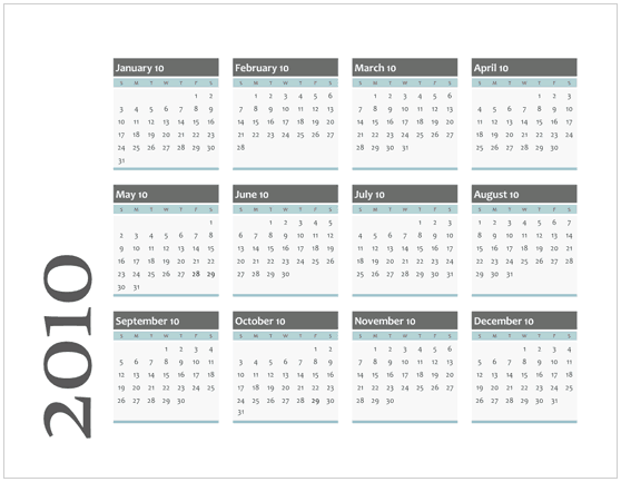 2010 Calendar Templates For Microsoft Office Visio 2007  Office Template Calendar