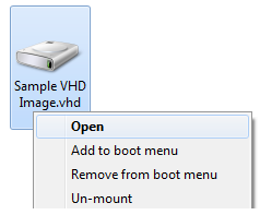 VHD Mount Context Menu Options