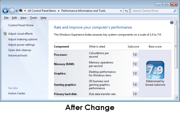 Windows Experience Index After Change