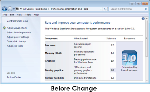 Windows Experience Index Before Change
