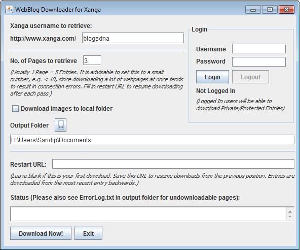 WebBlog Downloader for Xanga