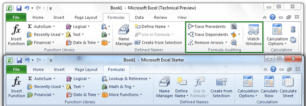 Formulas Tab Comparison Office Excel Starter 2010