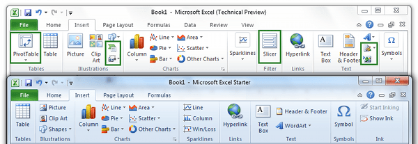 Insert Tab Comparison Office Excel Starter 2010