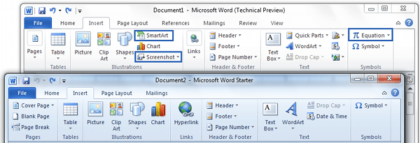 Insert Tab Comparison Office Word Starter 2010