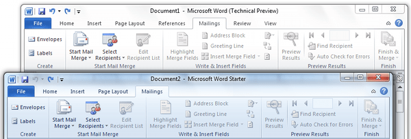 Mailing Tab Comparison Office Word Starter 2010