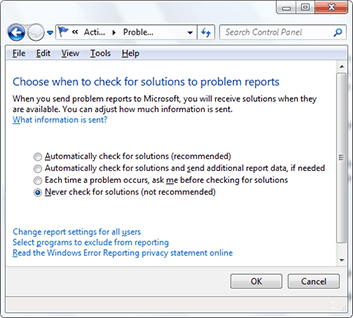 Disable Problem Reporting