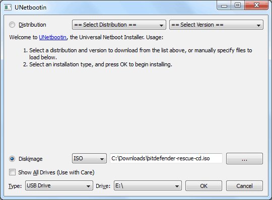 UNetbootin select ISO file