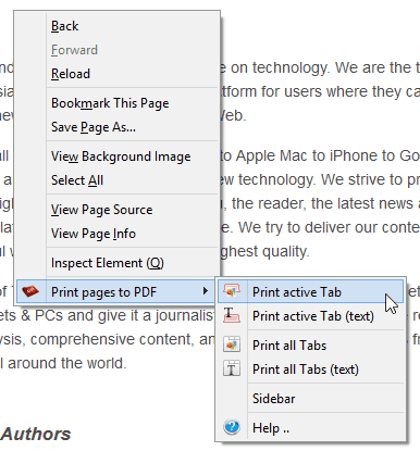 Print pages to PDF 0