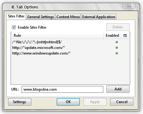 Firefox Extension IE Tab Filters Settings