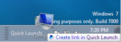 Add Shortcut To Quick Launch ToolBar