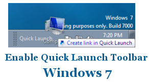Enable Disable Quick Launch Toolbar