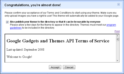 iGoogle Terms and Condition
