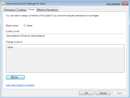 Owner Tab of Advance Security Settings
