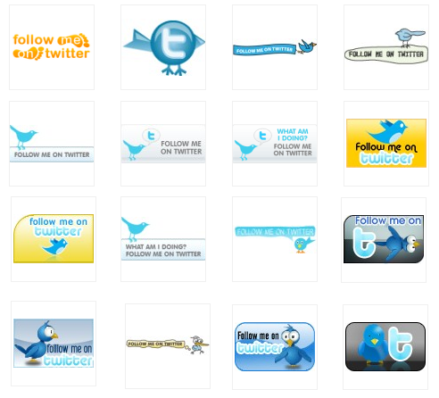 Sample Twitter Follow me Buttons for Blog