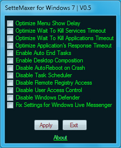 SetteMaxer 0.5 Optimize Windows 7