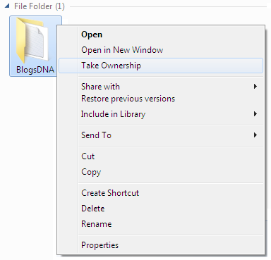 Take Ownership Option in Right Click Context Menu