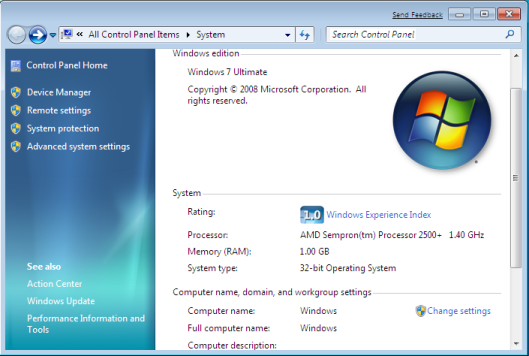 Window 7 System Information
