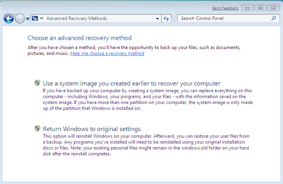 Windows 7 Advance System Recover with System Restore