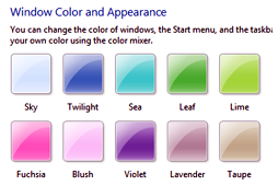 Windows 7 Colors and Appearance