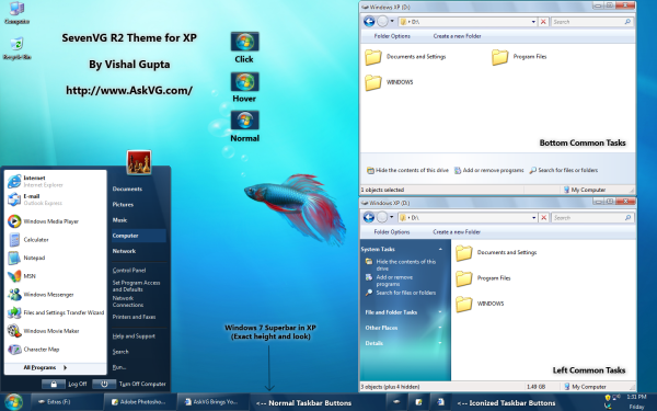 SevenVG R2 Theme for Windows XP by Vishal Gupta