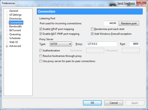 uTorrent Preference Proxy Setting
