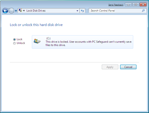 Windows 7 PC Safeguard Lock or Unlock Hard Drive